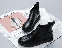Autumn and winter new leather paint leather round headgear Chelsea Martin boots