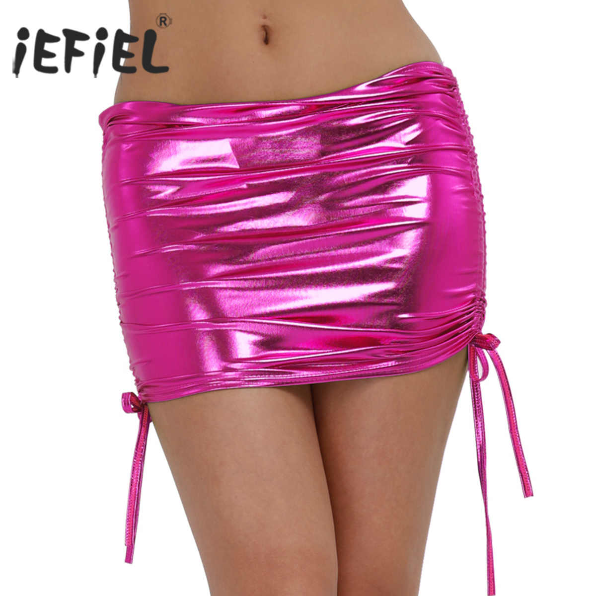 3f46dbe5777c3 iEFiEL Sexy Skirt Women Pole Dancing Club Wear Short Skirt Patent Leather  Micro Mini Skirts Dancing