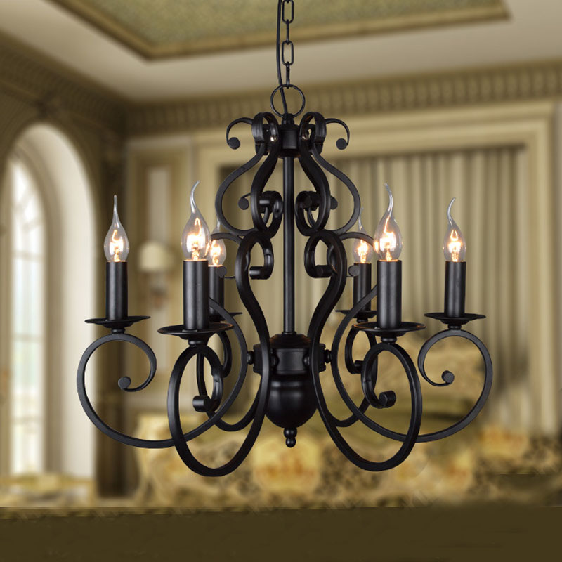 Black wrought iron modern chandelier lighting 56 heads e14 hotel black wrought iron modern chandelier lighting 56 heads e14 hotelfoyerliving roomdining room creative black candle chandelier in chandeliers from lights aloadofball Gallery