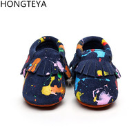 New Graffiti Tassel Suede Genuine Leather Newborn First Walkers Soft Sole Baby Infant Kids Moccasins Bebe