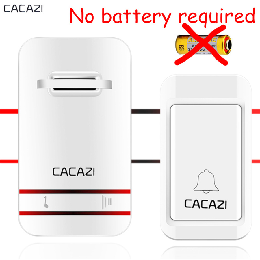 CACAZI Wireless DoorBell No Battery Need Waterproof smart Door Bell Cordless EU US plug Remote AC 110V-220V 1 emitter 1 Receiver wireless cordless wireless dental equipment endo motor 16 1 contra angle