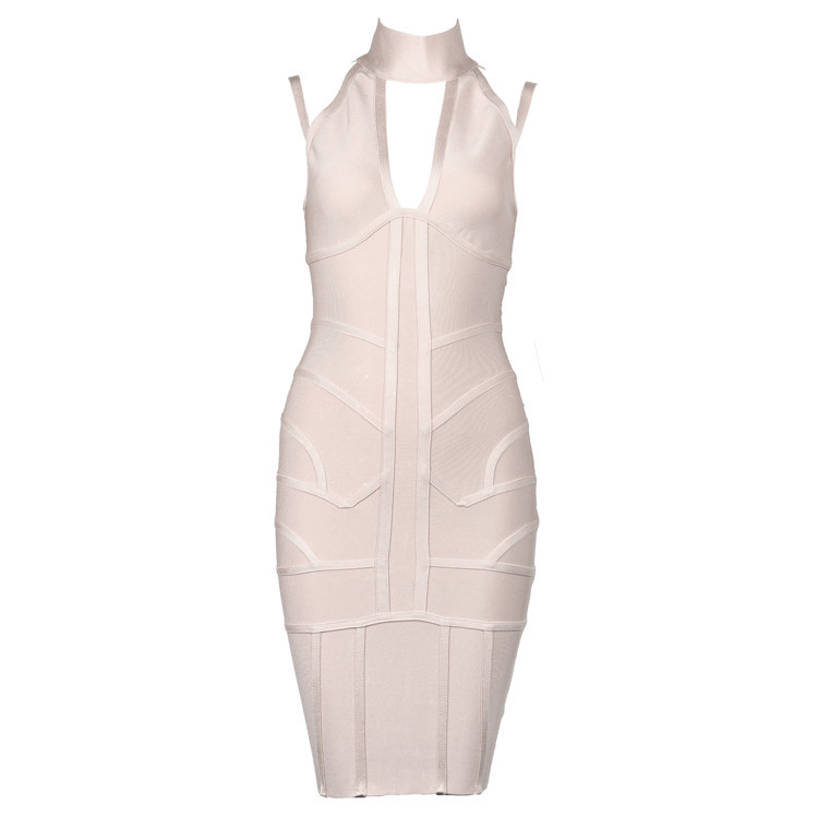 2016 Spaghetti Strap Sleeveless Bandage Dress Rayon Sexy Bodycon Bandage Dress Cut Outs Women Mini Dress Bandage HL Wholesale