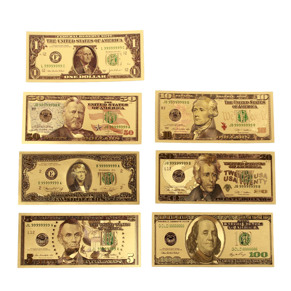 7PCS/Set Gold Plated Dollar Banknotes 1/2/5/10/20/50/100 Dollar Gold Antique Plated USA Souvenir Fake Money Home Decoration(China)