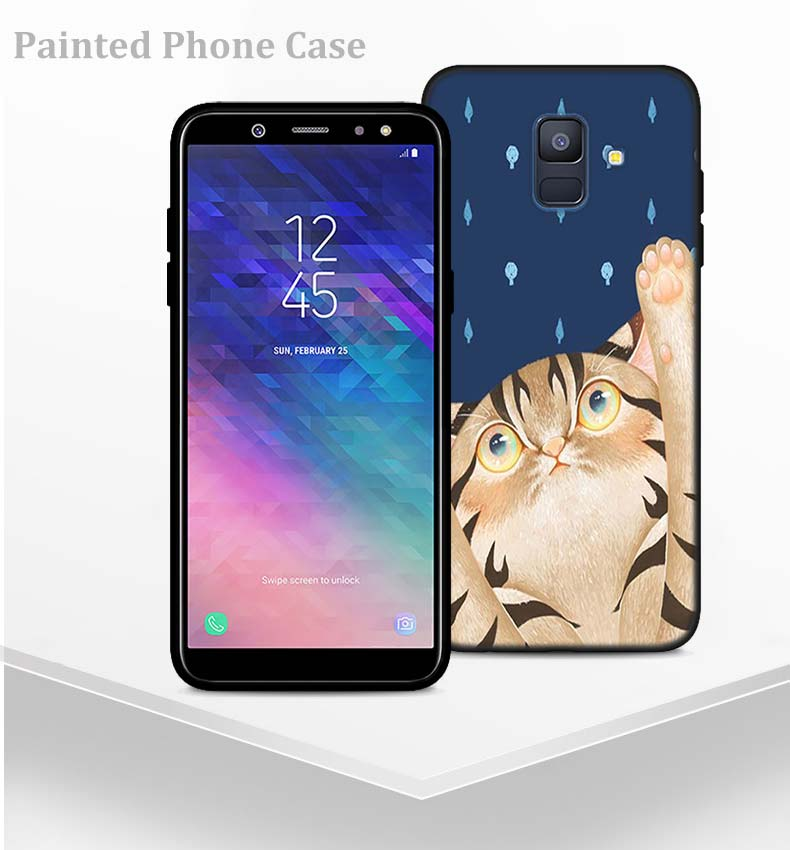 kawaii animal Bambi cat Silicone Phone Case for Samsung Galaxy A6 A6+ A8 A8+ 2018 A8 A9 Star Lite Soft Black Coque fundas
