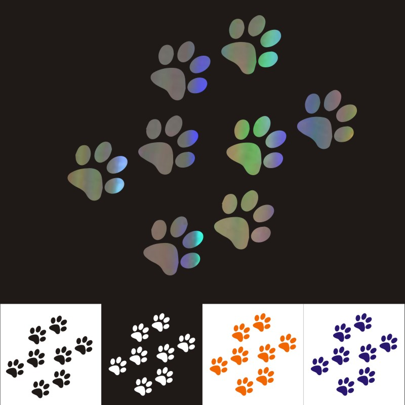 Car Stickers 3CM*2.8CM Cat Paw Print Car Motorcycles Decoration 3D Sticker Reflective Waterproof Styling Decal Custom Sticker