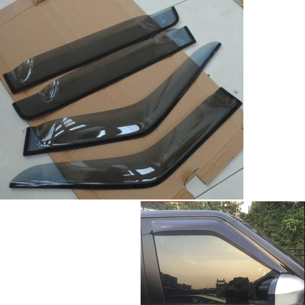 4pcs/set Window Body Side Deflector Guards Sun Rain Visor Shield Cover For LR4 LR3 2009-2015 Car Styling Auto Accessories 4pcs set smoke sun rain visor vent window deflector shield guard shade for cadillac xt5 2016 2017
