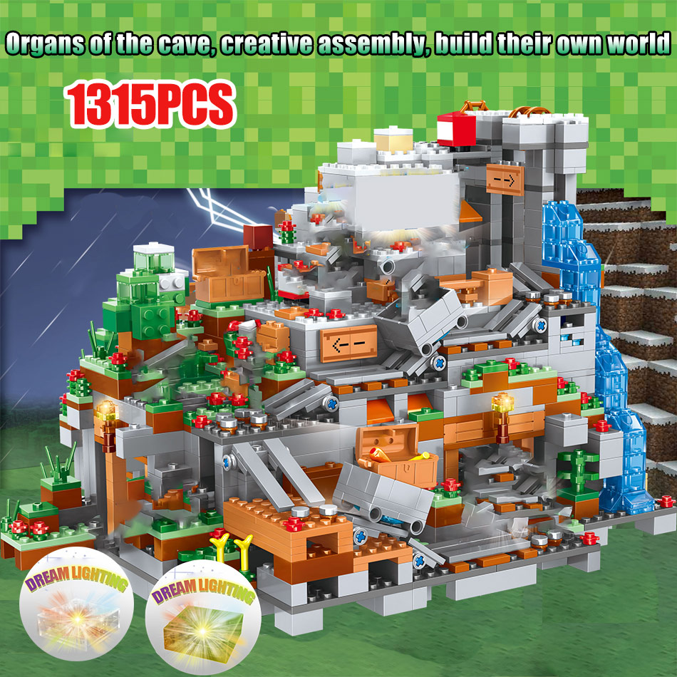 Minecraft Mountain Cave Legoing Minecraft 21137 Figures Model Building Blocks 1315 Piece Bricks Boys Birthday Gift Children Toys 8