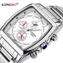 Longbo Brand Quartz Military Sports Square Watch Men Stainless Steel Strap Watches Casual Wristwatch Full Steel Men Watch Clock