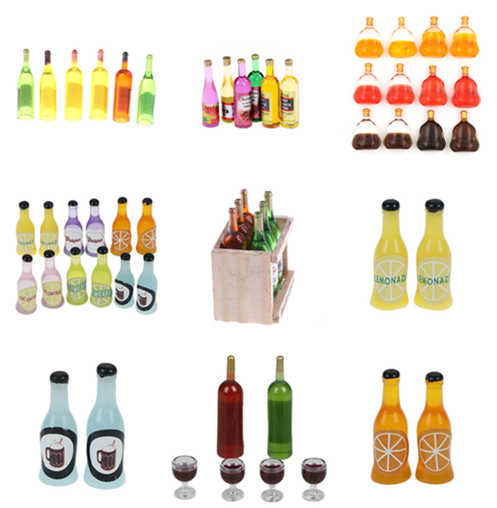 Colorful Wine Bottles Dollhouse Miniature 1:12 1:6 For Kids Girls Toys Dinette Enfant Dollhouse Kitchen Toys 1/2/3/4/5/6 Pcs