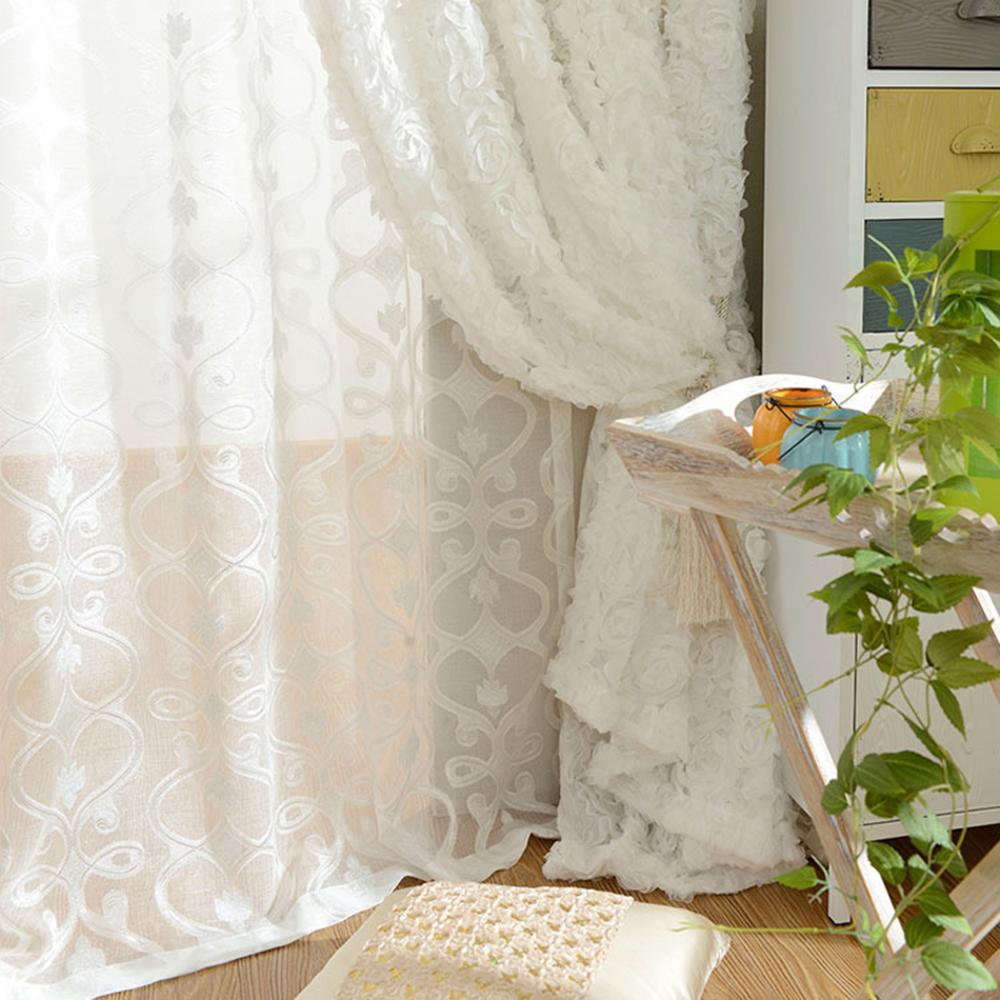 Lace Rose Curtains Pastoral Korean Creative White 3D Voile Custom Window Screens For Marriage Living Room Bedroom
