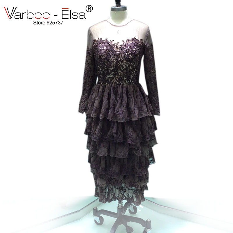 0657813d27 VARBOO ELSA 2018 High Quality Tulle Tiered Evening Dress Purple A-line Party  Dress Lace Embroidery Ankle-Length Evening Dress