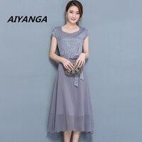 4 kolor M-3XL Plus rozmiar wysokiej jakości kobiety szyfonowa patchwork jedwabne sukienki z krótkim rękawem slim sashes bow red średni długi sukienka