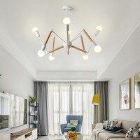 Nordic Loft Spider Hanglamp Persoonlijkheid Hout Ijzer Opknoping Licht Romantische Living Slaapkamer Led Verlichting Gratis Verzending