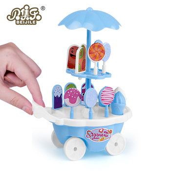 Kids Kitchen Toys Simulation Food Ice Cream Cart Shop Mini Engine for Assembly Baby Supermarket Girl Gift ice cream cart toy