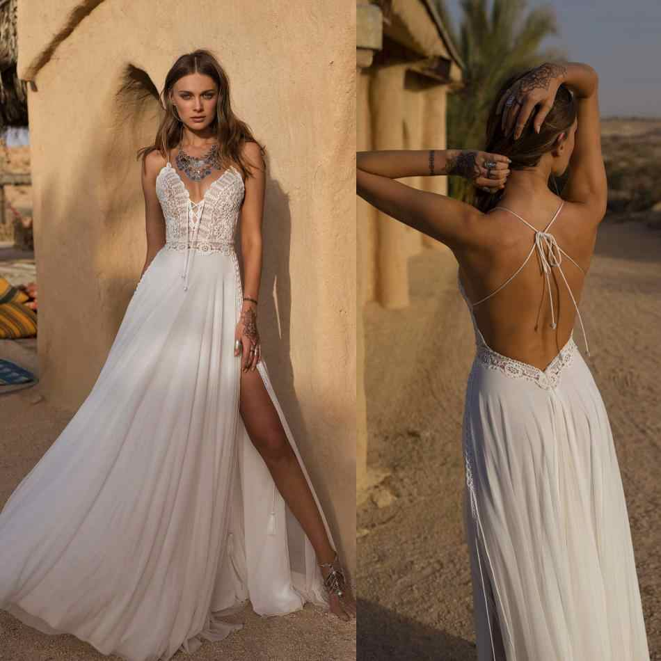 Bohemian Wedding Dress.2019 Bohemian Wedding Dresses Spaghetti Straps Side Split Bridal Gowns Floor Length Beach A Line Wedding Dress Robe De Mariee