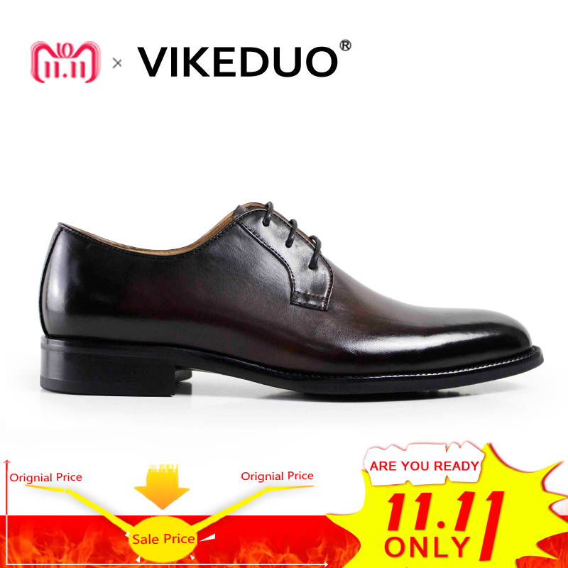 VIKEDUO Brand Handmade Dress Shoes For Men Wedding Office Formal Male Shoe Genuine Leather Footwear Derby Classic Zapatos Hombre цены