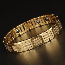 TrustyLan On Sale High Polished Tungsten Steel Man Bracelet Gifts Best Friend Mens Bracelets With Healthy Black Germanium Stone
