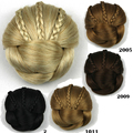 European American Toupee Fake Hair Chignon Chip In Hairpiece Braided Hair Bun Clip Hair Wraps Donut Roller Hairpiece Headdress
