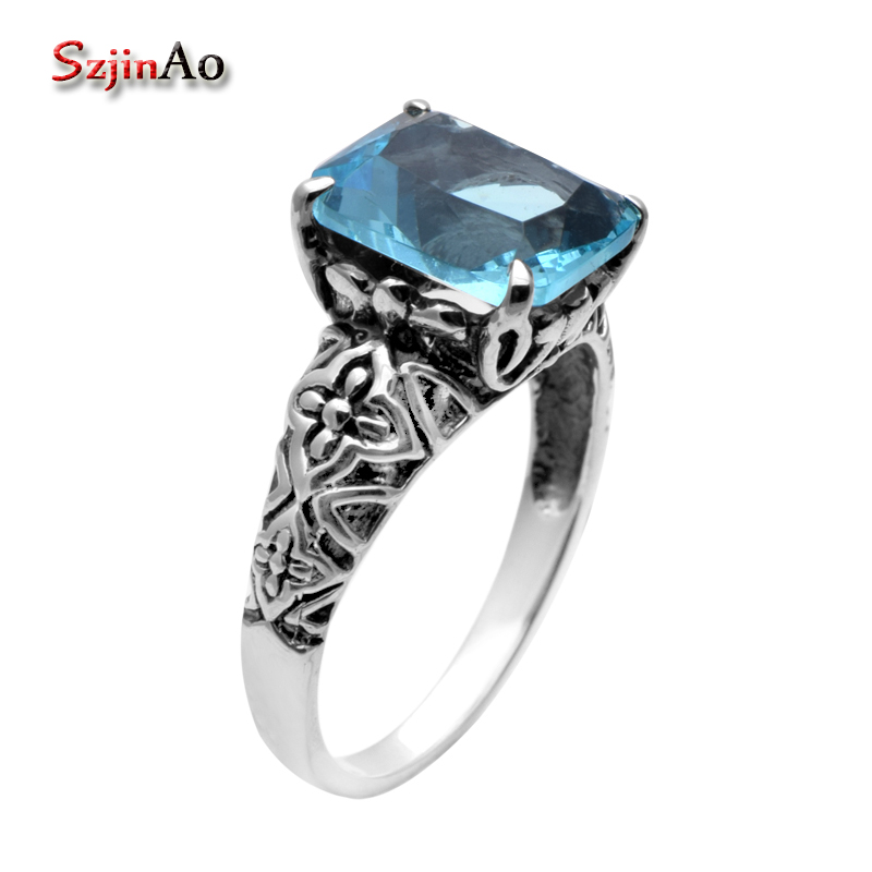 Szjinao 925 sterling silver jewelry wholesale Victoria wieck wedding ring set blue stone wedding rings for women