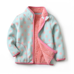 Image 2 - Autumn Winter Girls Jackets Fashion Lining Thick Fleece Warm Jakcet Coat Outerwear Kids Children Clothing Collar Kids Jackets