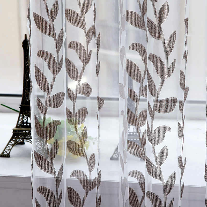 1PC Voile Super Leaves Printed Tulle Living Room Window Curtain Door Drapes Scarf Sheer Panel Valances New
