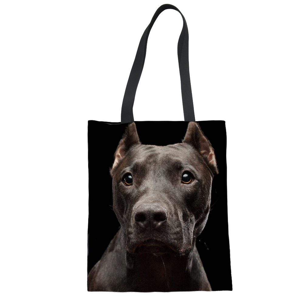 FORUDESIGNS/черный питбуль печать сумка складная женские сумки парусиновая Bolso Mujer для девочек персонализированные Tote