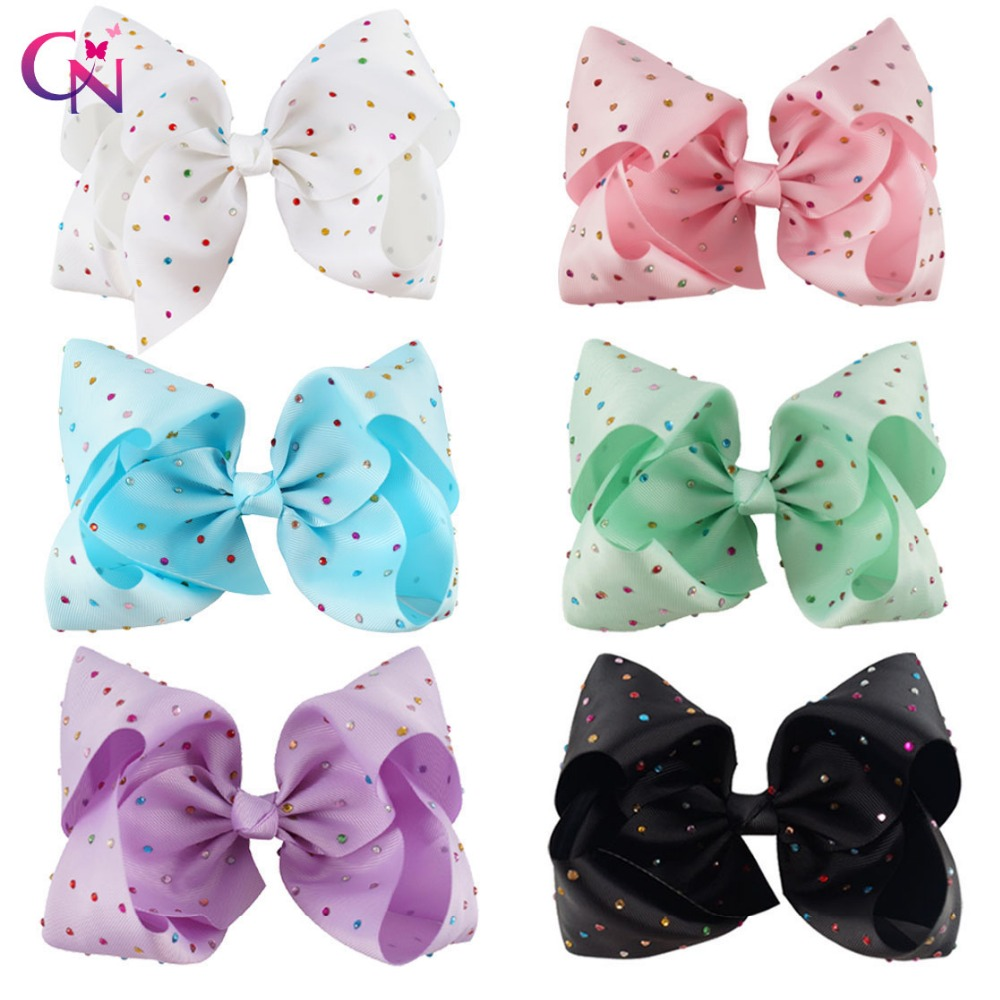 12 Pieces/lot 7 Rhinestone Bow With Hair Clip For Girls Kids Large Candy Color Crystal Ribbon Hair Bows Hair Accessories 8 large solid grosgrain ribbon hair bow with clip for girls jumbo hair bows girls hair accessories 15pcs lot