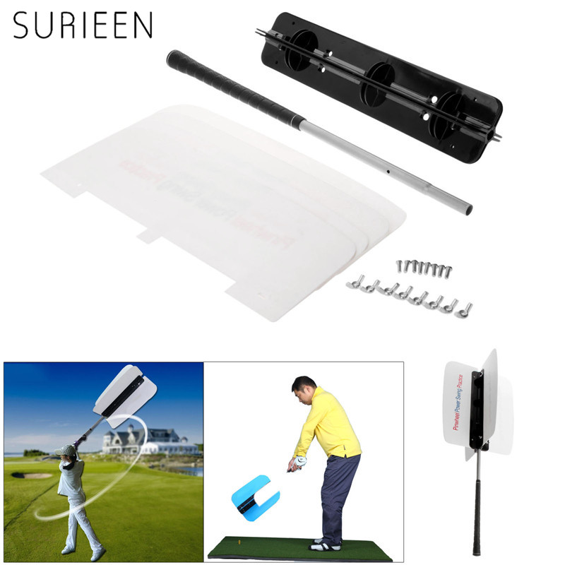 White Golf Club Swing Trainer Power Swing Fan Golf Club Swing Trainer Power Resistance Practice ToolS Golf Training Aids SURIEEN golf putting mat mini golf putting trainer with automatic ball return indoor artificial grass carpet
