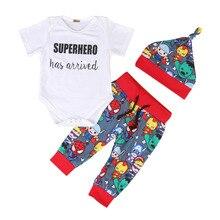 Г., Лидер продаж, брендовая одежда для новорожденных мальчиков из 3 предметов с мультипликационным принтом, топ, комбинезон с короткими рукавами+ штаны, шапка, комплект одежды, 0-18 месяцев