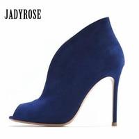 Factory Price Genuine Leather Women Peep Toe Summer Boots Deep V Front Ladies High Heels Slip