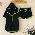2016 Summer Fashion women clothing set Sportswear Tracksuit Casual Costume hooded t shirt top+short pants plus size 4XL 5XL 6XL