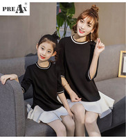 Family Matching Outfits Spring Korean Kids Dress for Girl Casual Fashion Cotton Family Clothing Baby Girl Fake Two Pieces Dress