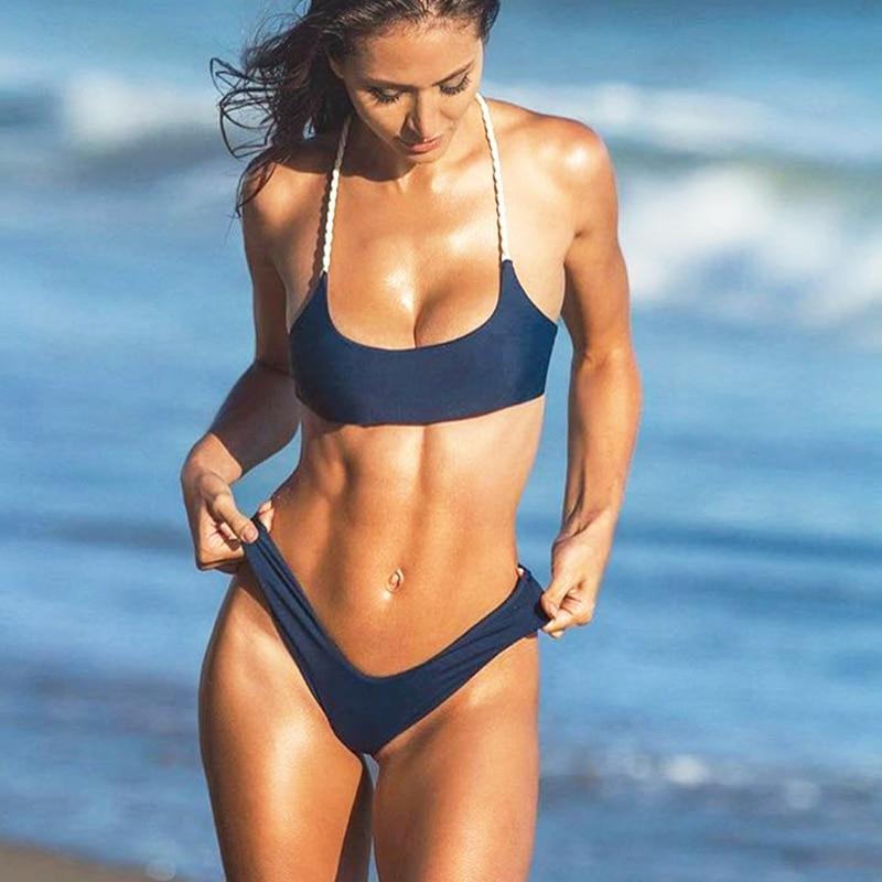 Brand Bikini High Waist Cut Braided String Swimwear Women Pure Swimsuit Brazilian Thong Bottom Bandage Bathing Suit Beachwear