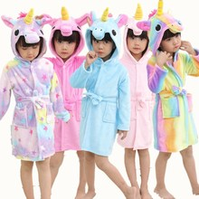 Купить с кэшбэком Cute Baby Bathrobes for Girls Pajamas Kids Rainbow Unicorn Pattern Hooded Beach Towel Boys Bath Robe Sleepwear Children Clothing