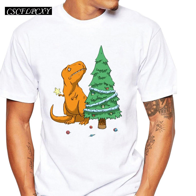 Dinosaur With Christmas Tree Men T-shirts O-Neck Short Sleeve Tops Cartoon Print T Shirt Fashion TeesCSCFLPCXY