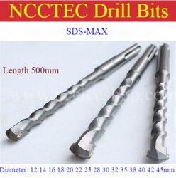 [SDS MAX 500 мм длина] 12, 14, 16, 18, 20, 22, 25, 30, 32, 35, 38, 40, 42, 45 мм твердосплавное настенное сверло, 20 ''перфоратор