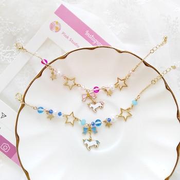 Japan Unicorn Bowknot with Beads Moon Star Crystal Bracelet
