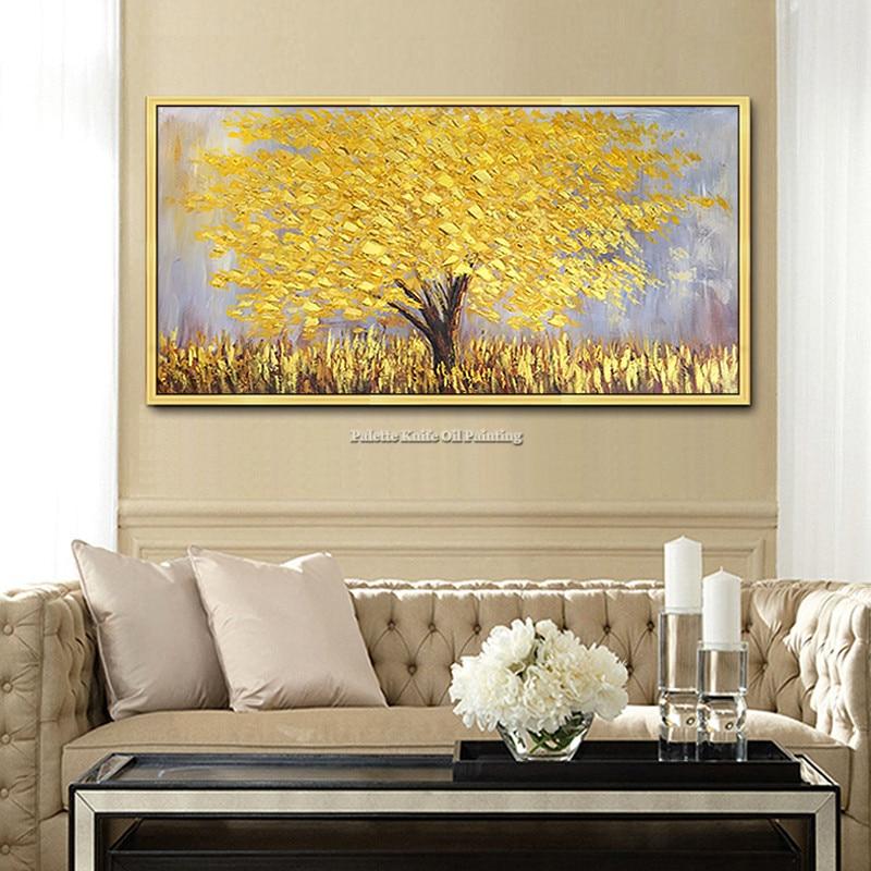 Obraz na plátně Moderní ručně malované paletový nůž 3D textury Květina Strom Nástěnné obrazy pro domácí výzdobu obývacího pokoje