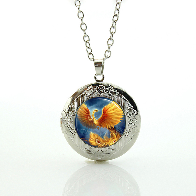Phoenix necklace fashion golden bird photo glass dome locket pendant phoenix necklace fashion golden bird photo glass dome locket pendant elegant peacock statement necklaces jewelry for mozeypictures Image collections