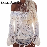 Loneyshow Lace Stitching Blouses Sexy Hollow Out Off Shoulder Blouse Shirt Long Flare Sleeve White Black Cotton Blusa Women Tops
