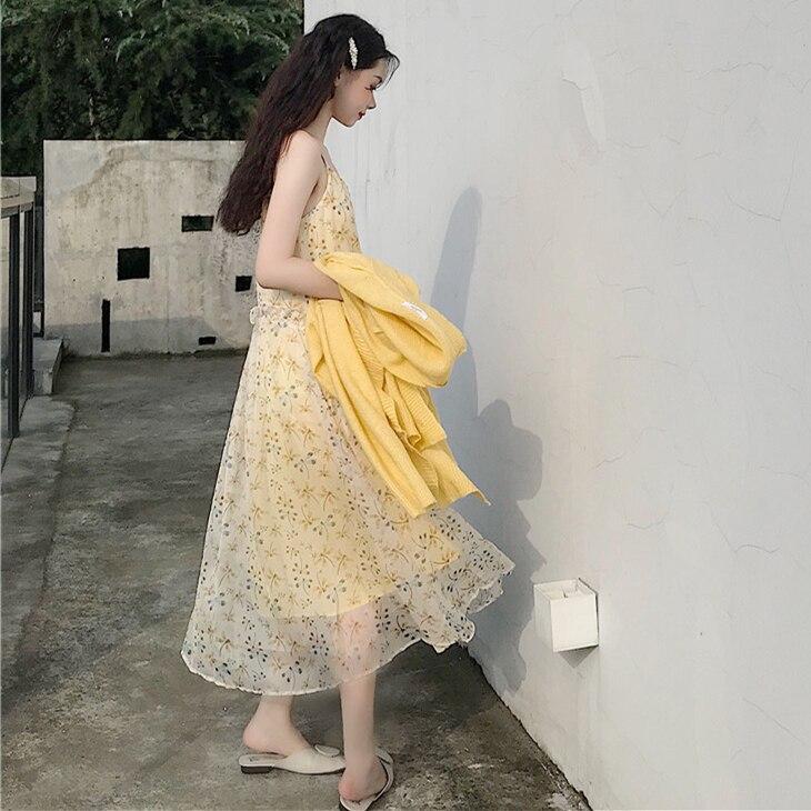 Han est une petite libellule légère et élégante imprimée avec une fronde en mousseline à taille haute, longue et une robe féminine.