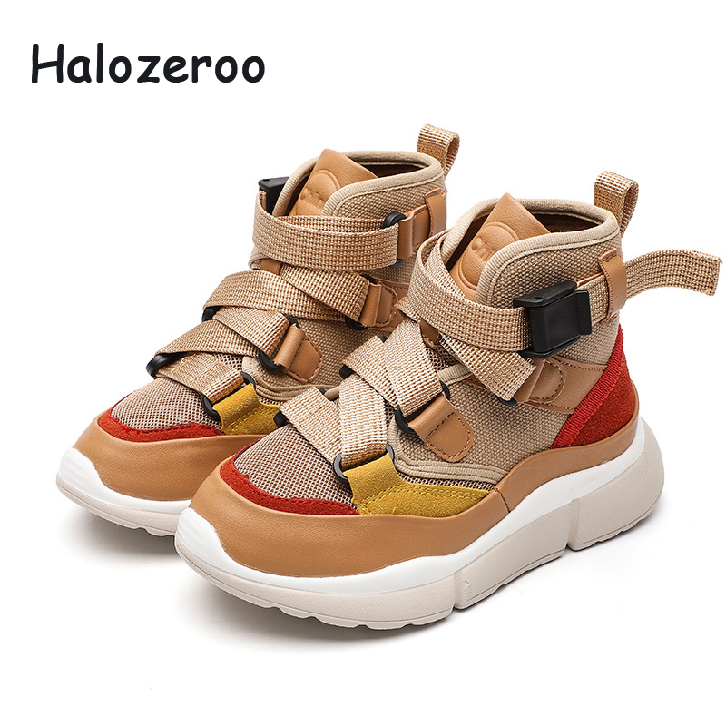 Baby Girl Sport Sneakers Children Pu Leather High Top Sneakers Kid Warm Casual Shoes Boy Soft Black Shoes Winter Autumn Trainer