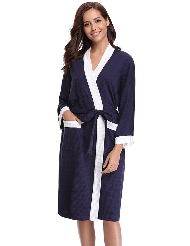 c1ee01d06c COSWE New Women Bathrobes Waffle Dressing Gown Cotton Lightweight Bath Robe  For Womens Spa Hotel Pool Sleepwear Kimono Robes