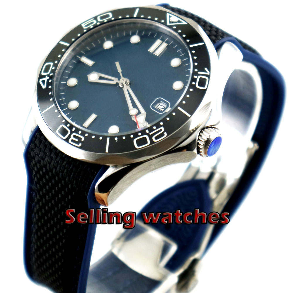 41mm bliger Blue sterile dial Luminous black ceramic bezel Sapphire Glass Automatic Wristwatches date Mechanical mens watch