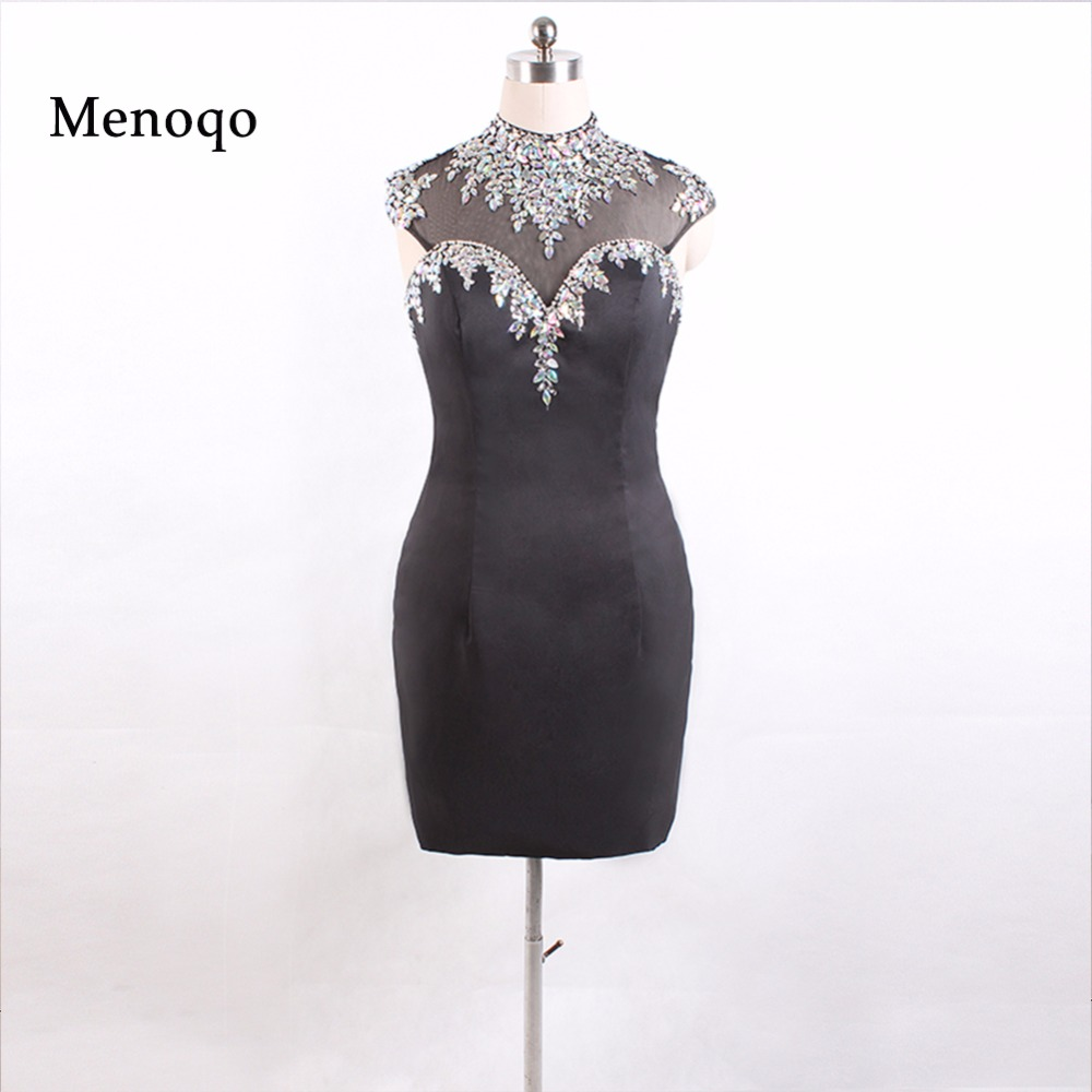 Luxury Short Cocktail Dresses 2019 Real Beaded Black Robes Courte de Cocktail Gowns