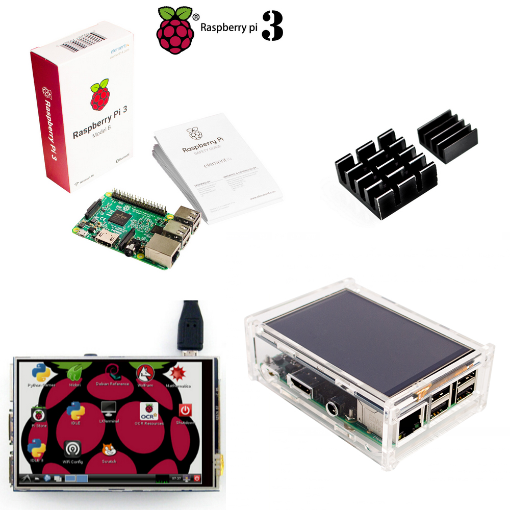 3,5 TFT Малина Pi3 ЖК-дисплей Сенсорный экран Дисплей + Raspberry Pi 3 Модель B доска + акриловый чехол + радиаторы для Raspbery Pi 3