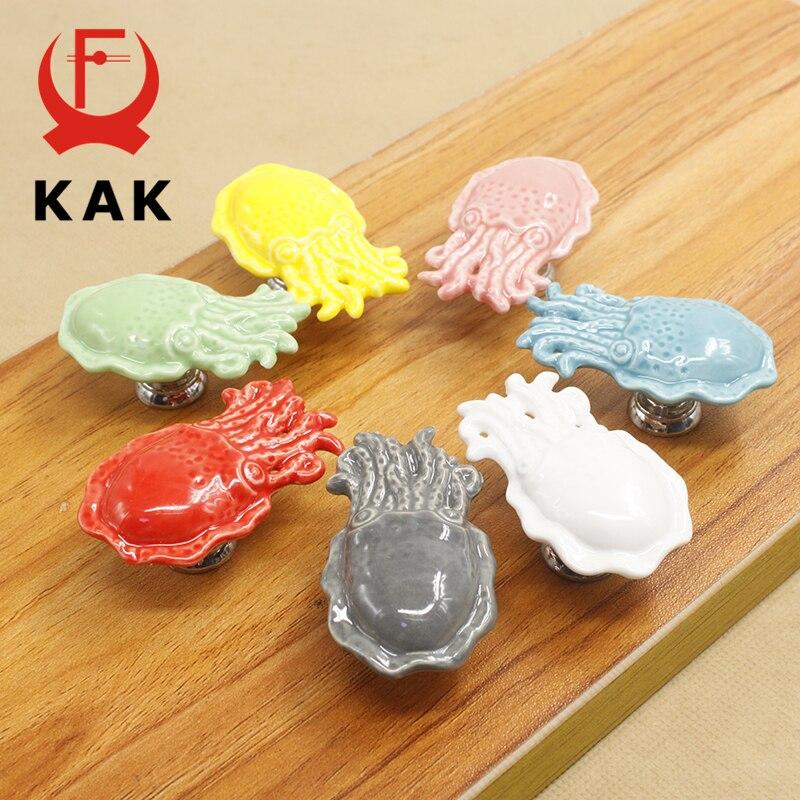 KAK Cartoon Octopus Ceramic Drawer Knobs Cabinet Pulls Kitchen Handles Cute Furniture Handle For Kids Room Furniture Hardware