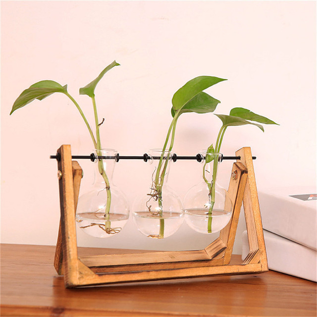 Vintage Style Glass Tabletop Plant Bonsai Flower Wedding Decorative Vase With Wooden Tray Home Decoration Accessories Flower Pot