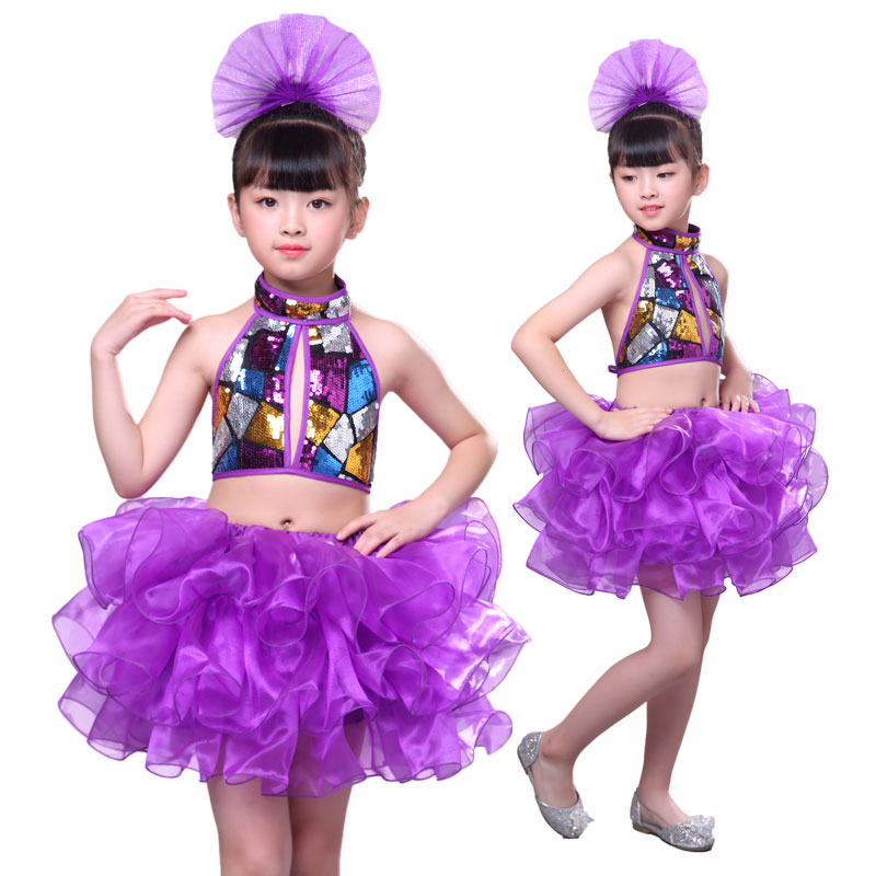 2018 Sequin Modern Jazz Dance Costumes Girl Hip Hop Kids Dance Wear Kids High Quality Dance Dress Girl Stage Dance Purple Dress