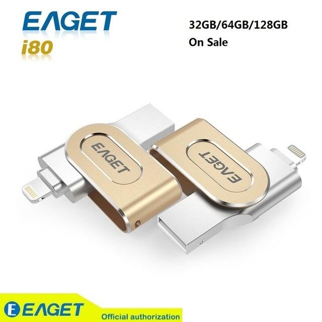 Eaget i80 3.0 pen drive usb flash drive usb 3.0 ifm pendrive de 32 gb 64 gb 128 gb para o iphone para ipad usb de armazenamento externo VARA